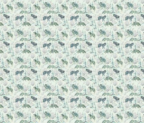 Wolves_on_a_Snowy_Day fabric by sandy_at_sound_of_wings on Spoonflower - custom fabric