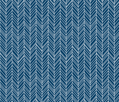 herringbone feathers navy blue fabric by misstiina on Spoonflower - custom fabric