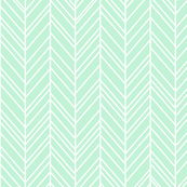 herringbone feathers ice mint green