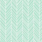 herringbone feathers mint green