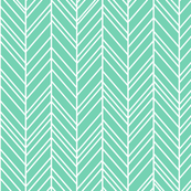 herringbone feathers sea foam green