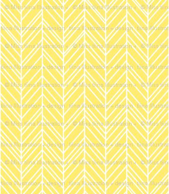 herringbone feathers lemon yellow