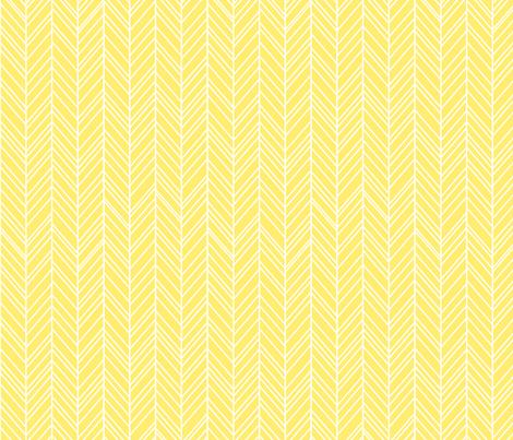 herringbone feathers lemon yellow fabric by misstiina on Spoonflower - custom fabric