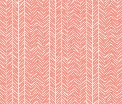 herringbone feathers peach fabric by misstiina on Spoonflower - custom fabric