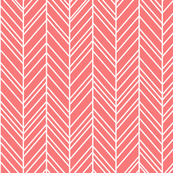 herringbone feathers coral