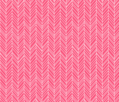 herringbone feathers hot pink fabric by misstiina on Spoonflower - custom fabric