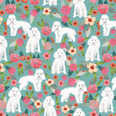 toy poodle florals dog fabric toy dogs breeds - gulf blue fabric by petfriendly on Spoonflower - custom fabric