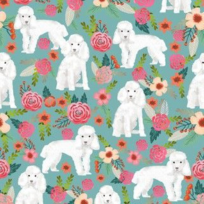 toy poodle florals dog fabric toy dogs breeds - gulf blue