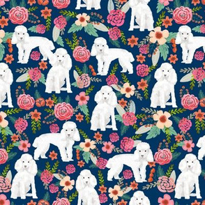 toy poodle florals dog fabric toy dogs breeds - navy