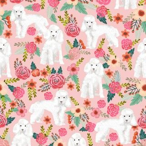 toy poodle florals dog fabric toy dogs breeds - pink