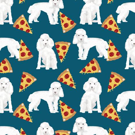 toy poodle pizza fabric dogs and pizza funny fabric - blue fabric by petfriendly on Spoonflower - custom fabric