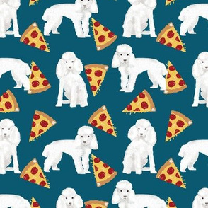 toy poodle pizza fabric dogs and pizza funny fabric - blue