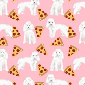 toy poodle pizza fabric dogs and pizza funny fabric - pink