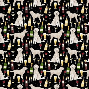 golden doodle wine cocktails pattern black