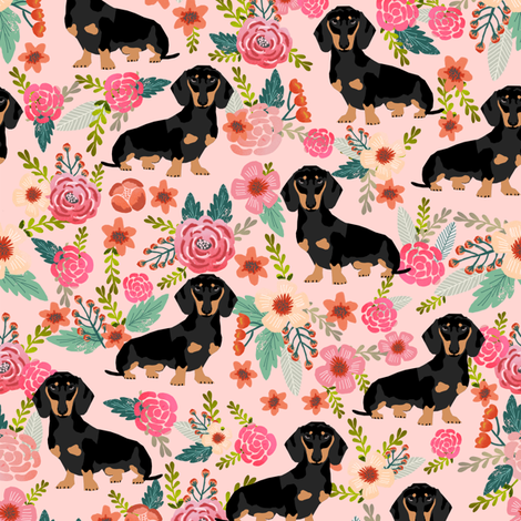 Doxie Flowers florals Dachshund pink fabric by petfriendly on Spoonflower - custom fabric