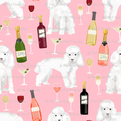 toy poodle wine drinks cocktails yappy hour fabric cute dogs fabric - pink
