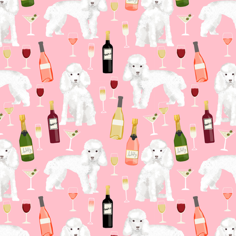 toy poodle wine drinks cocktails yappy hour fabric cute dogs fabric - pink fabric by petfriendly on Spoonflower - custom fabric