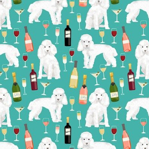 toy poodle wine drinks cocktails yappy hour fabric cute dogs fabric - turquoise