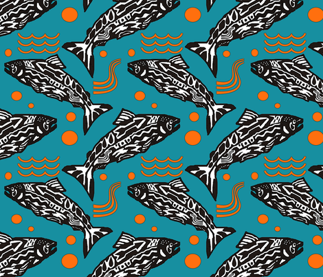 salmon_totem_a fabric by leroyj on Spoonflower - custom fabric