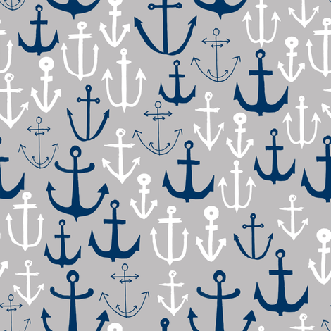 anchors // navy and grey nautical fabric maritime anchor summer design by andrea lauren fabric by andrea_lauren on Spoonflower - custom fabric