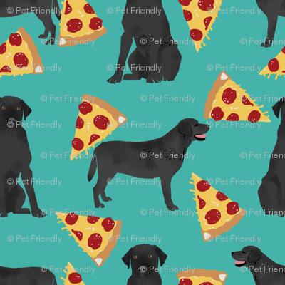 Black Lab pizza fabric turquoise
