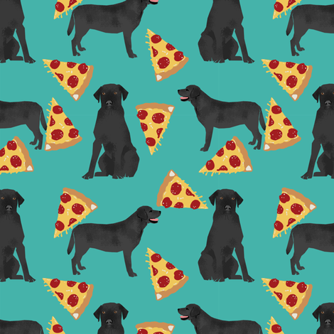 Black Lab pizza fabric turquoise  fabric by petfriendly on Spoonflower - custom fabric