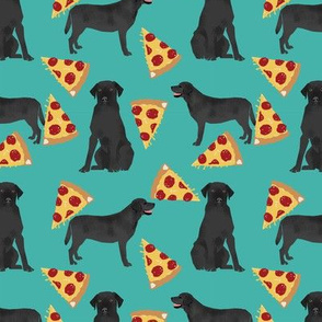 Black Lab pizza fabric turquoise