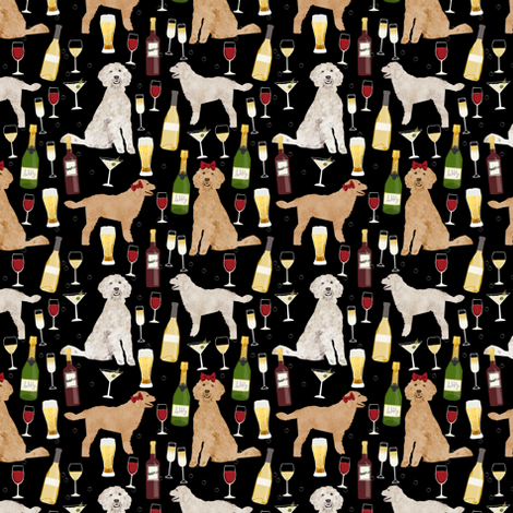 Golden Doodle wine cocktail party fabric by petfriendly on Spoonflower - custom fabric