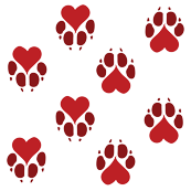 Simple Heart Paw Prints in Red, Valentines