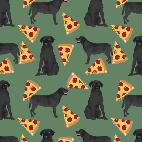 Black Lab pizza party dogs and food fabric  fabric by petfriendly on Spoonflower - custom fabric