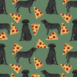 Black Lab pizza party dogs and food fabric