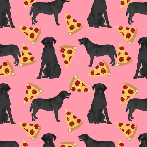 Black Lab pizza slices pink dog fabric  fabric by petfriendly on Spoonflower - custom fabric
