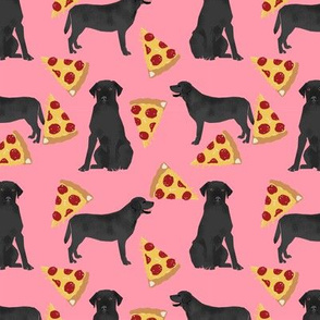 Black Lab pizza slices pink dog fabric
