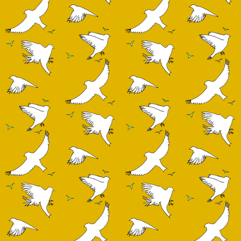 Birds in flight_ochre and mint fabric by carrie_narducci on Spoonflower - custom fabric