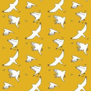 Birds in flight_ochre and mint