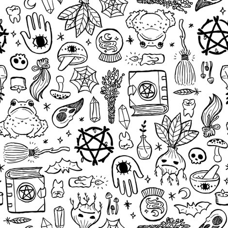 Witchy Objects  fabric by lunasol on Spoonflower - custom fabric
