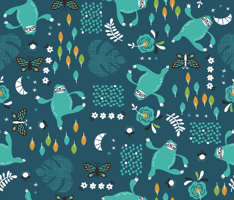 Sloth Samba fabric by cynthiafrenette on Spoonflower - custom fabric