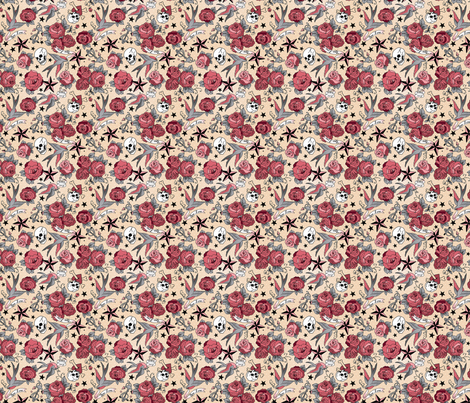 Tiny Flowery Tattoo fabric by cynthiafrenette on Spoonflower - custom fabric