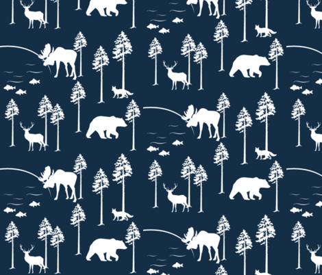 friendly forest on Navy fabric by buckwoodsdesignco on Spoonflower - custom fabric