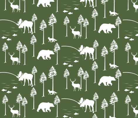 friendly forest on Timber green fabric by buckwoodsdesignco on Spoonflower - custom fabric