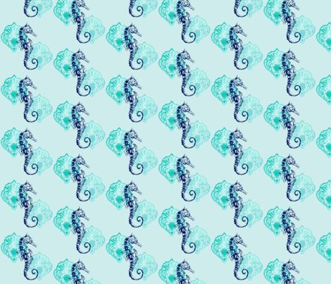 Seahorse and Seashells fabric by brooklynsouthern on Spoonflower - custom fabric