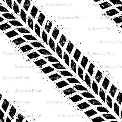 tire tracks    white
