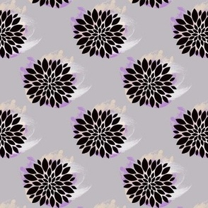 Puff Flower - Fuchsia and Cream on Grey