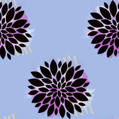 Puff Flower - Fuchsia and White on Periwinkle