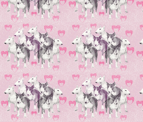 Pastel Bulll Terriers fabric by dogdaze_ on Spoonflower - custom fabric