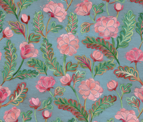 Soft Smudgy Pink and Green Floral Pattern Large fabric by micklyn on Spoonflower - custom fabric