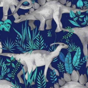 Dinosaur Jungle Dark Blue Purple Background large print