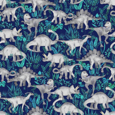 Dinosaur jungle dark blue purple background small print for Purple dinosaur fabric