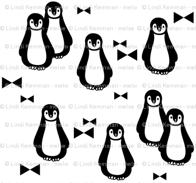 Penguin winter // black and white bow tie snow holiday Christmas