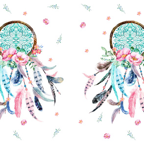 "2 to 1  Yard / 56"" x 36"" Pink & Aqua Dream Catcher"